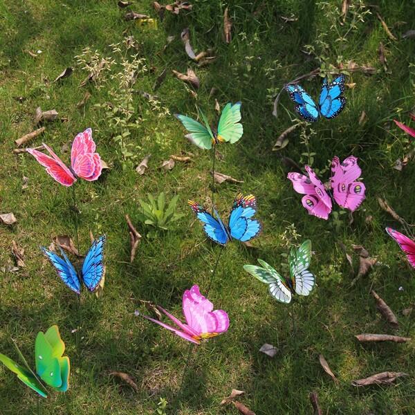 24pcs Random Butterfly Decorative Garden Stake, Multicolor