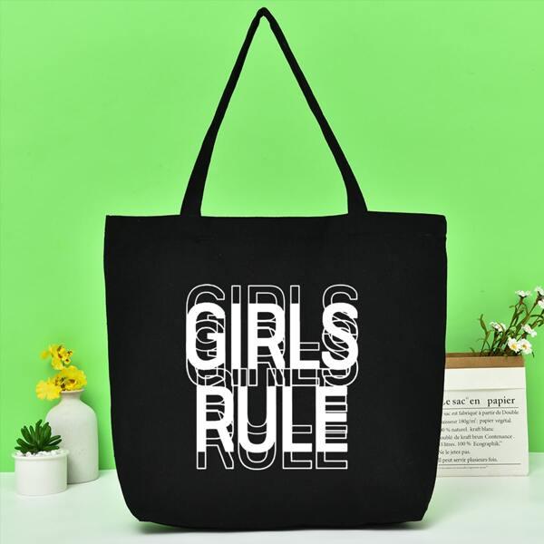 Letter Graphic Canvas Shopper Bag, Black