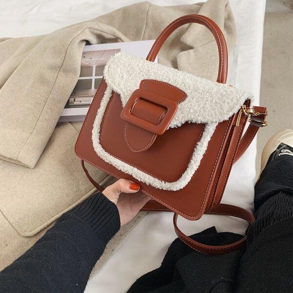 Buckle Decor Flap Satchel Bag, Brown