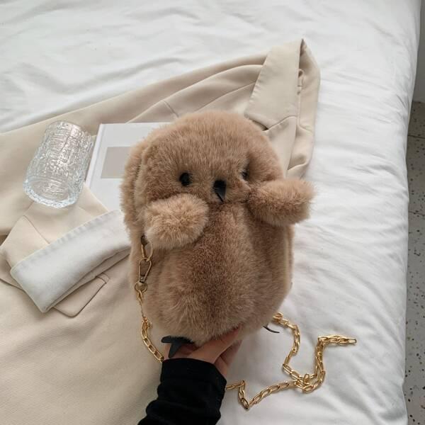 Pom-Pom Decor Fluffy Cartoon Design Novelty Bag, Khaki