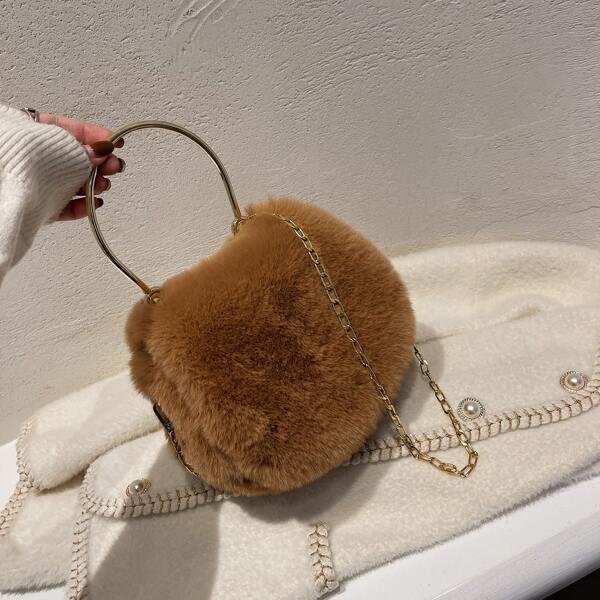 Minimalist Fluffy Chain Satchel Bag, Brown