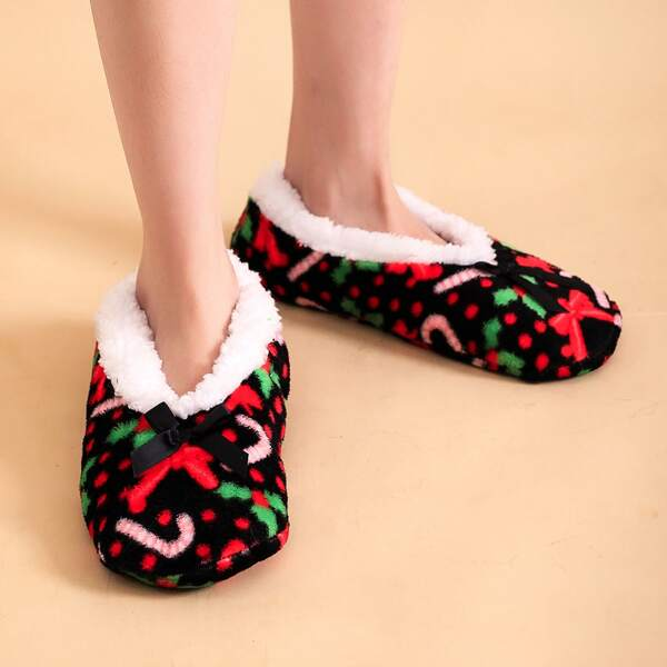 Christmas Bow Decor Bedroom Slippers, Multicolor