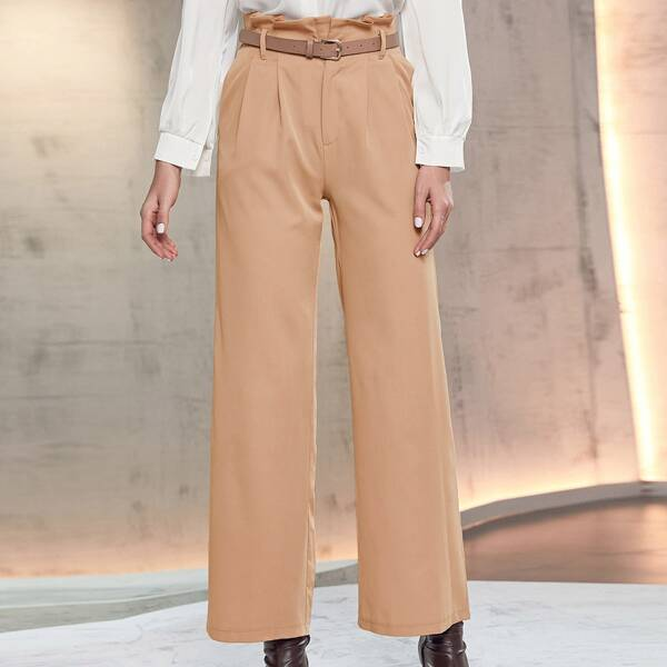 Paperbag Waist Belted Wide Leg Pants, Khaki