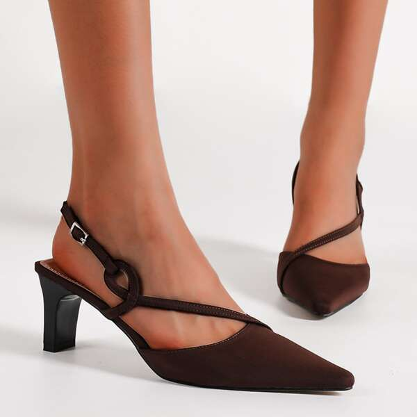 Point Toe Slingback Pumps, Chocolate brown