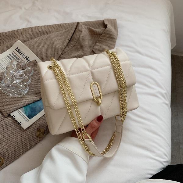 Minimalist Quilted Chain Flap Square Bag, Beige