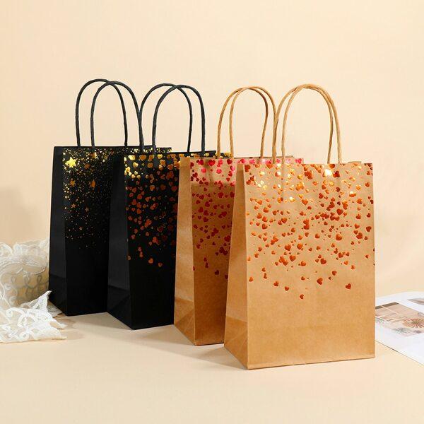 4pcs Heart Print Gift Bag, Multicolor