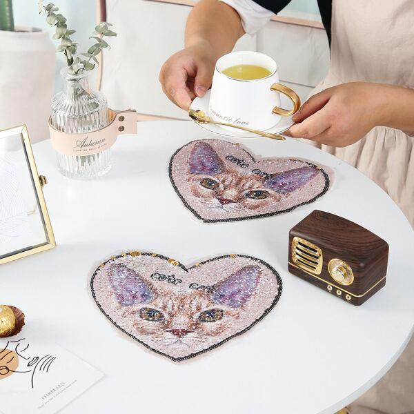 1pc Heart Shaped Cat Print Placemat, Multicolor