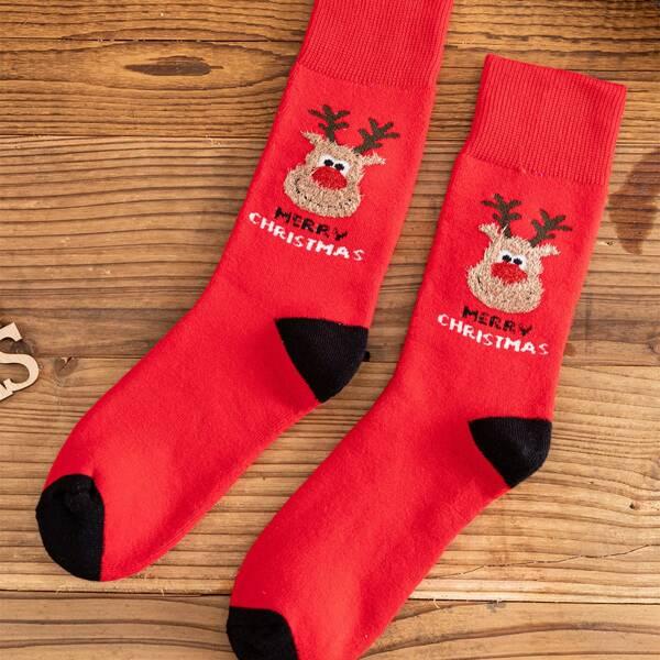 Men Christmas Deer Pattern Crew Socks, Multicolor
