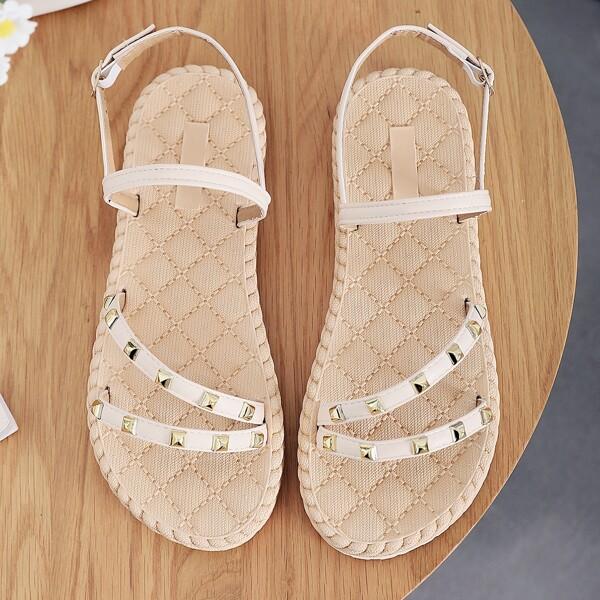 Spiked Decor Slingback Sandals, Beige