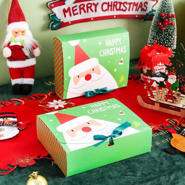 2pcs Christmas Santa Claus Print Packaging Box, Multicolor