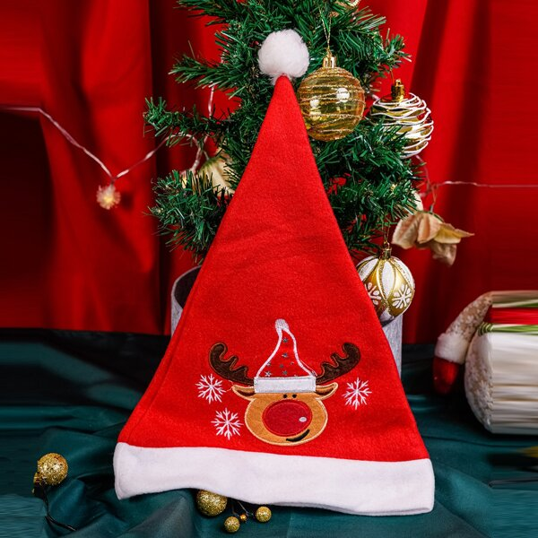 Christmas Deer Embroidered Hat, Red
