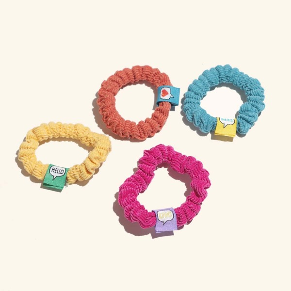 4pcs Toddler Girls Letter Detail Hair Tie, Multicolor