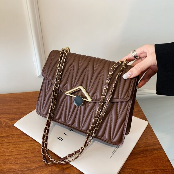 Minimalist Textured Chain Flap Square Bag, Coffee brown