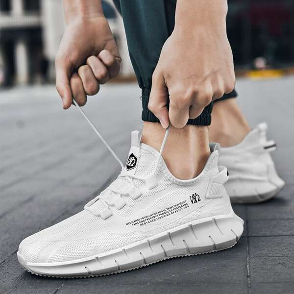 Men Minimalist Letter Detail Lace Up Front Sneakers, White
