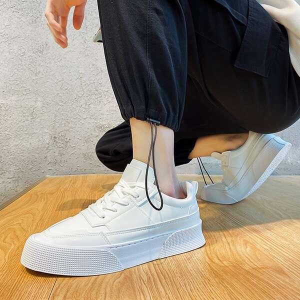 Men Minimalist Lace-up Front Skate Shoes, White