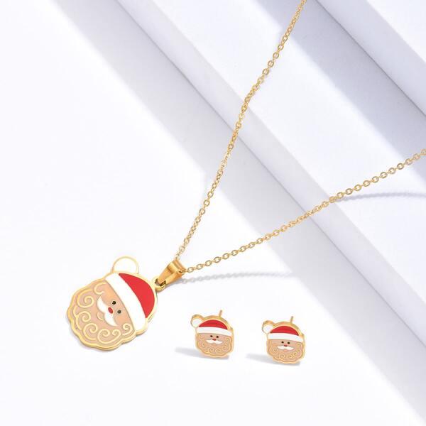 3pcs 18K Gold Plated Christmas Santa Claus Pendant Jewelry Set, Multicolor