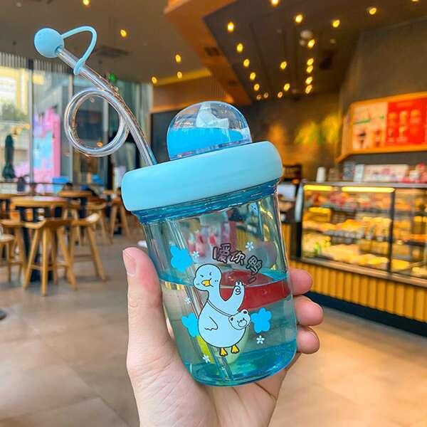 Cartoon Graphic Straw Water Bottle, Blue