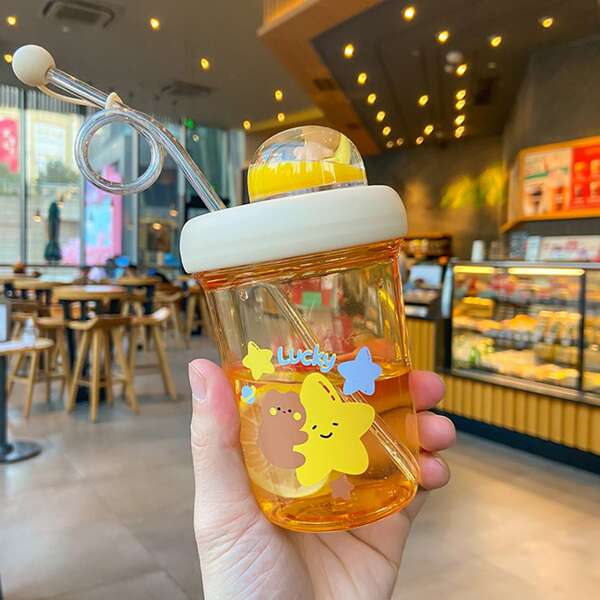 Cartoon Graphic Straw Water Bottle, Multicolor