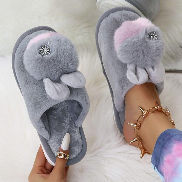 Pom-pom Decor Fuzzy Slippers, Grey