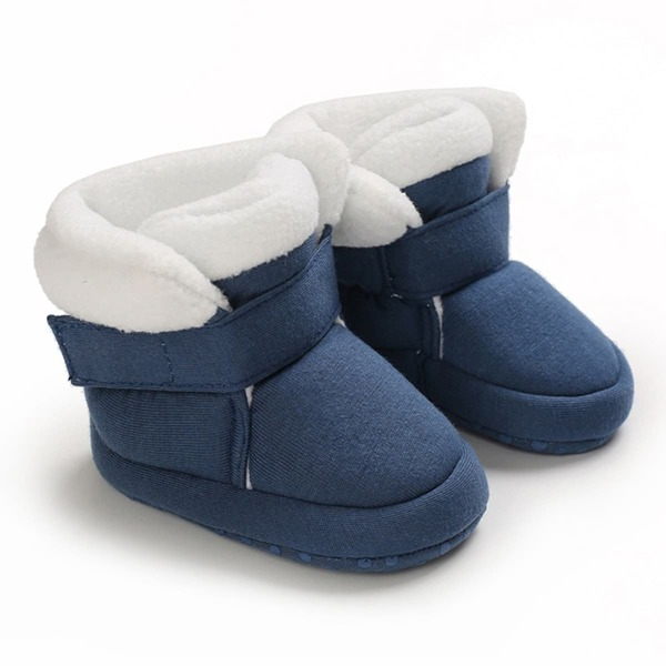 Baby Two Tone Velcro Strap Boots, Blue