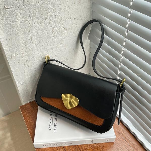 Colorblock Flap Baguette Bag, Black
