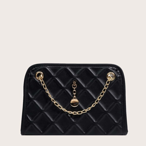 Minimalist Quilted Chain Square Bag, Black