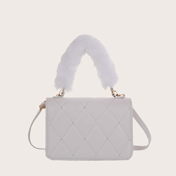 Quilted Fluffy Detail Satchel Bag, White