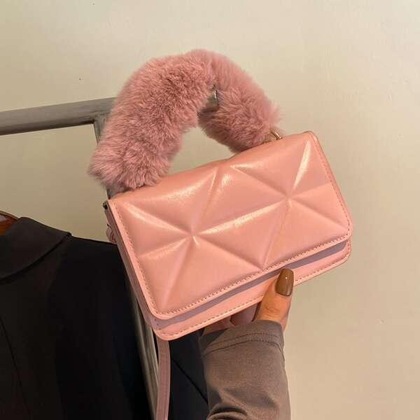 Stitch Detail Flap Square Bag, Pink