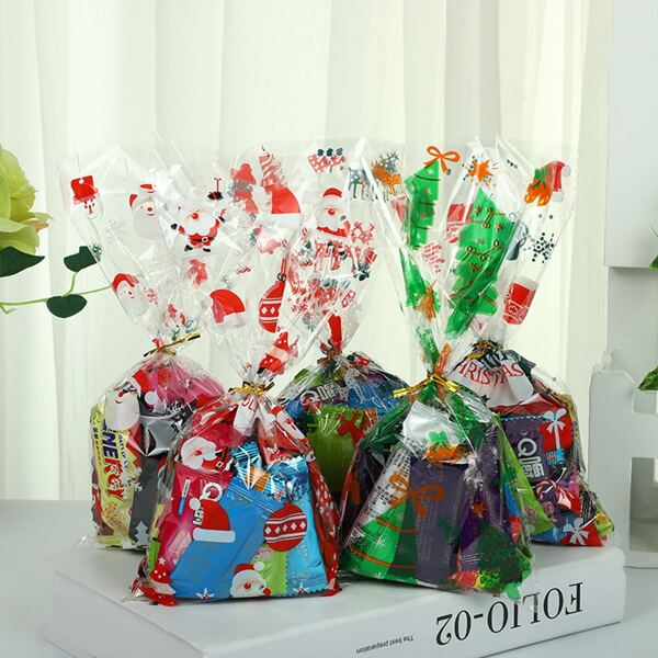 50pcs Christmas Random Pattern Packaging Bag, Multicolor