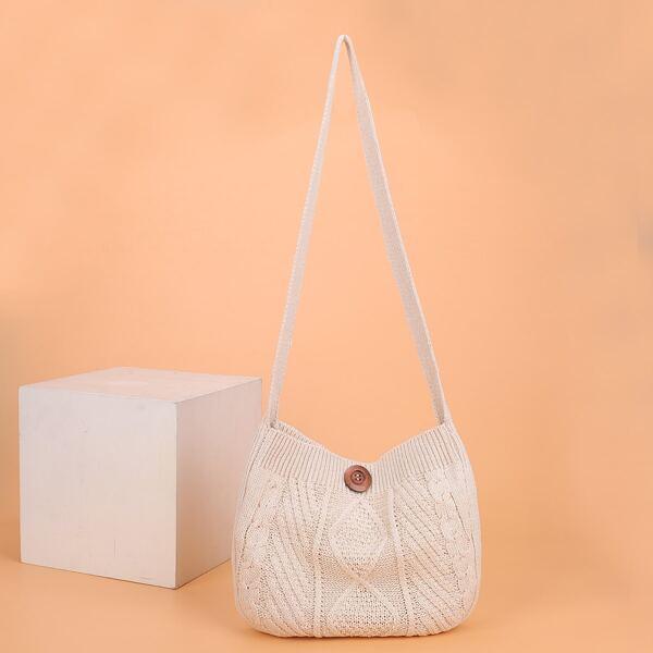 Button Decor Crochet Bucket Bag, Beige