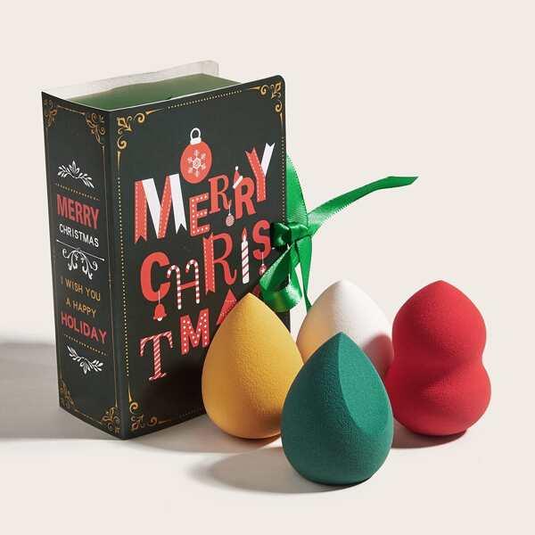 4pcs Christmas Makeup Sponge Set, Multicolor