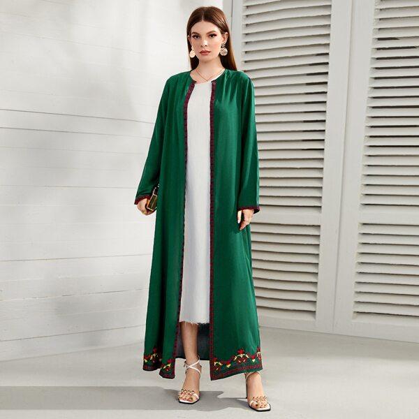 Geo & Flower Embroidery Abaya, Dark green