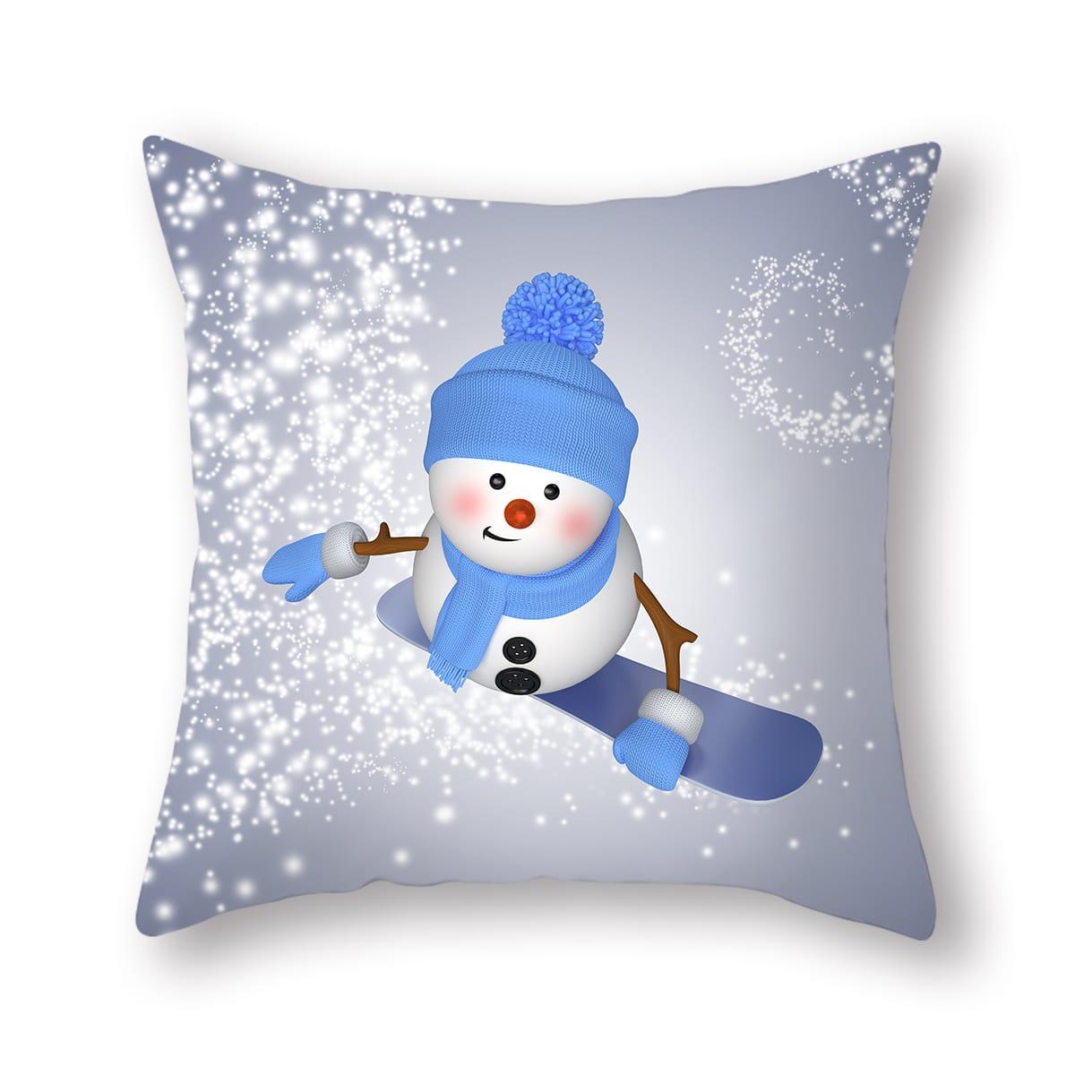Чехол для подушки без наполнителя рождественский снеговик принтом