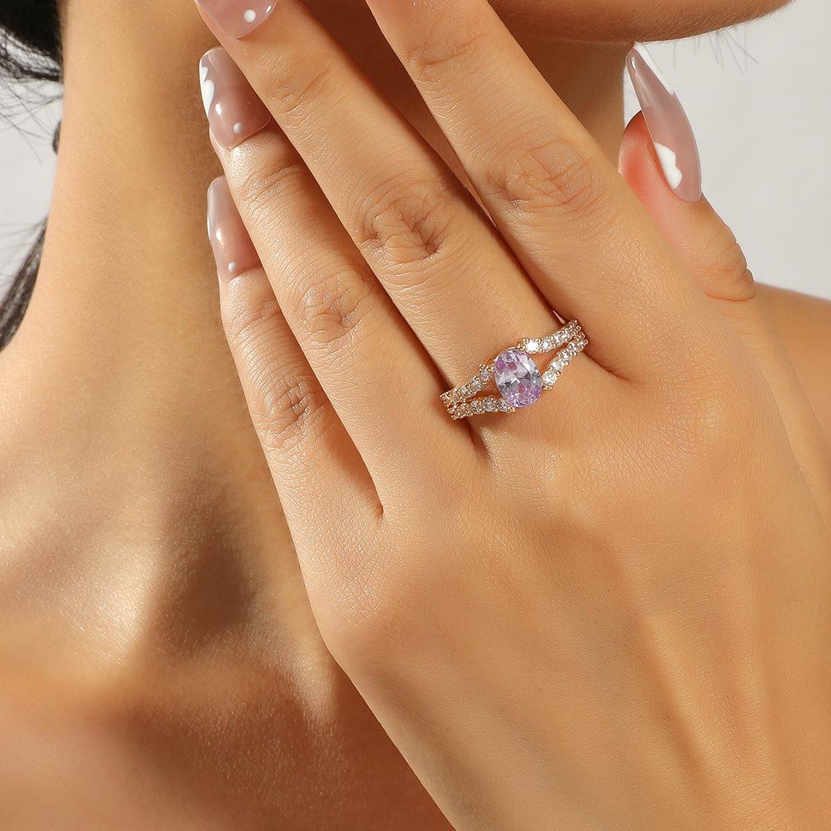 18K Позолоченное кольцо с цирконом