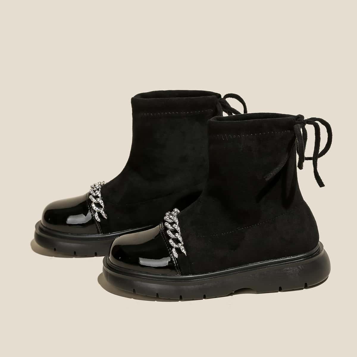 Ботинки со стразами & с цепочкой без шнурков для девочек