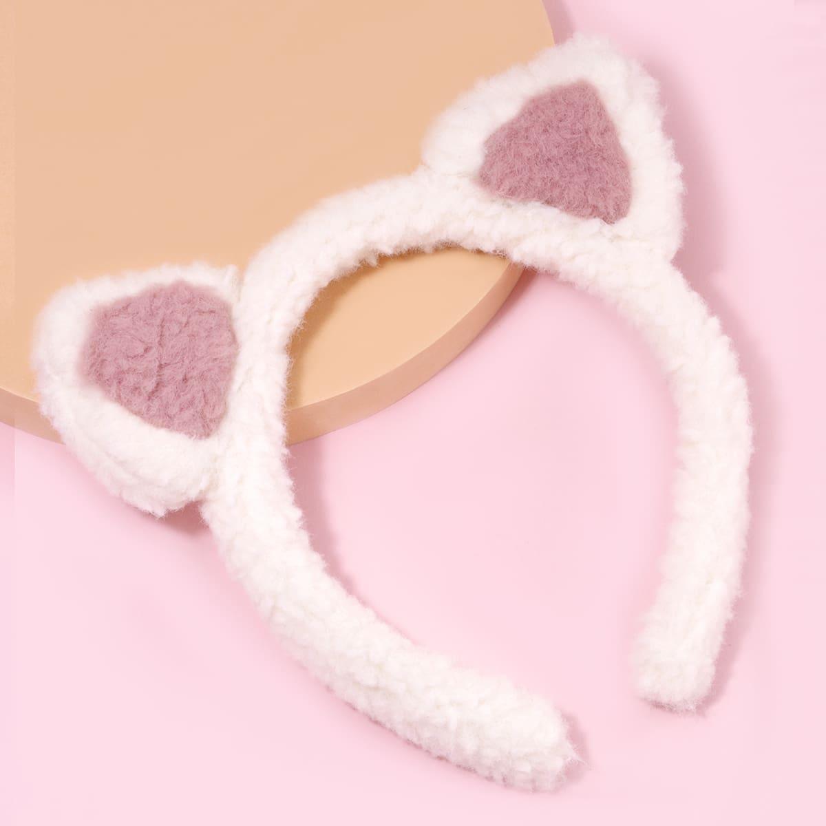Ободок для волос из плюша с кошачьими ушками для девочек
