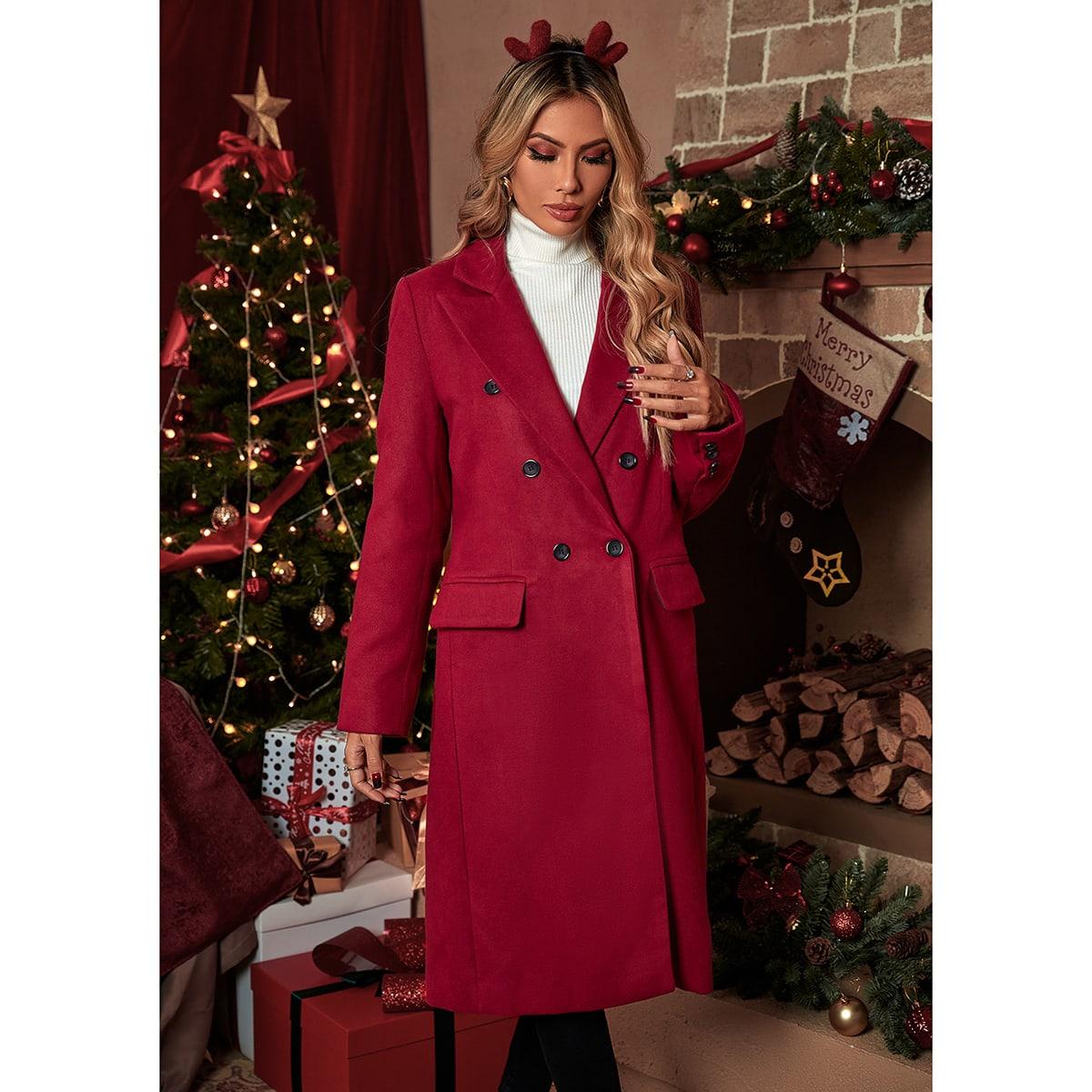Двойная пуговица с карманами Одноцветный Элегантный Женские пальто