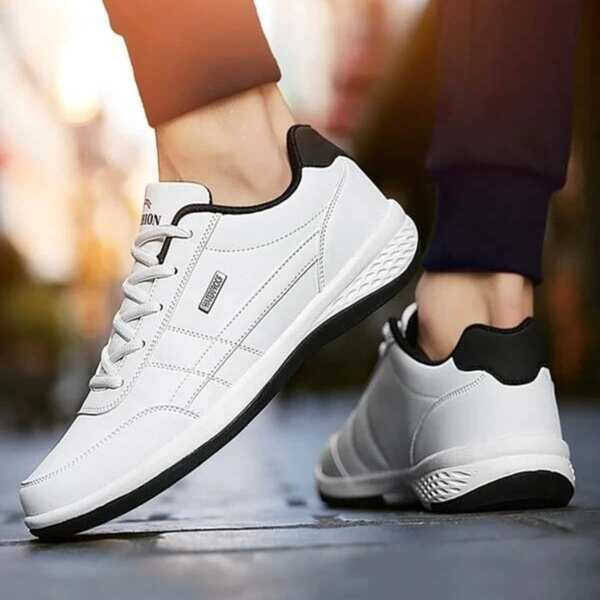 Men Minimalist Lace-up Front Sneakers, White