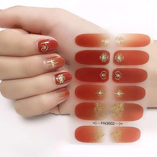 1sheet Bronzing Nail Art Sticker & 1pc Nail File, Red