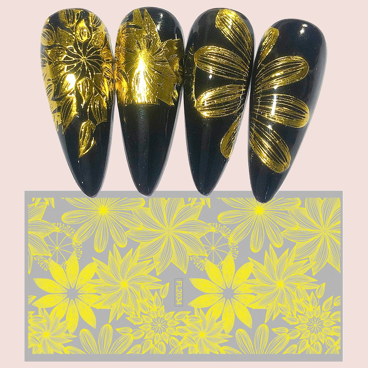 1 лист Наклейка для ногтей с цветочным узором