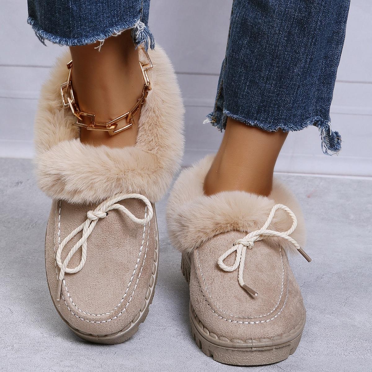 Зимние сапоги на шнурках из плюша