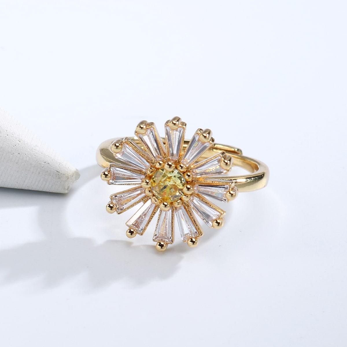 18K Позолоченное кольцо с цирконом с цветком