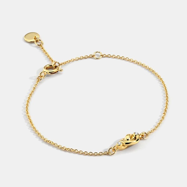 18K Gold Plated Zircon Detail Link Bracelet