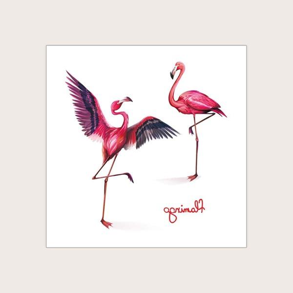1sheet Flamingo Pattern Tattoo Sticker, Red