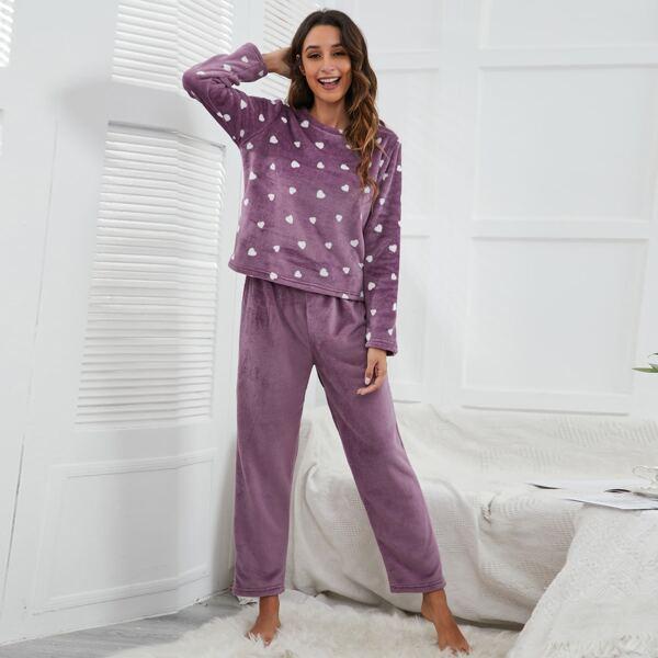 Heart Pattern Flannel PJ Set, Mauve purple