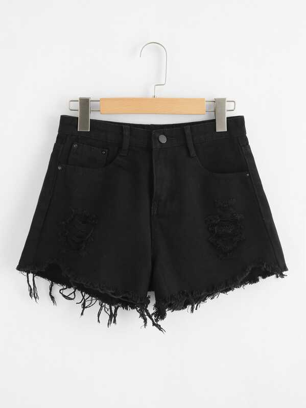 Raw Hem Denim Shorts, Black