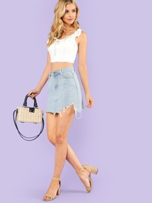 b0263812bde302 Cheap Ruffled Crop Top with Lace Up Tie WHITE for sale Australia