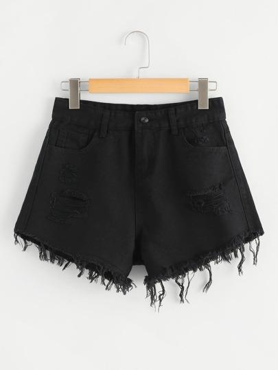 d5e09064664 Frayed Hem Ripped Denim Shorts