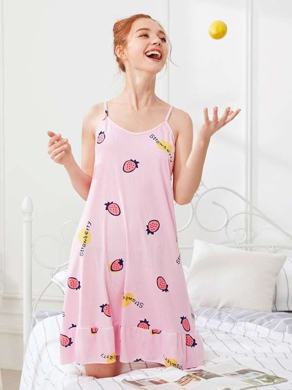 Strawberry Print Cami Dress With Eye Mask, Pink, Poly