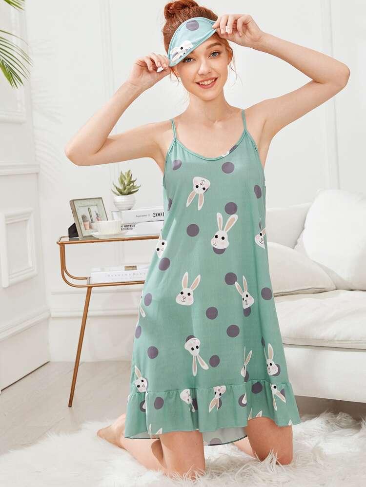 7780b59aa70fb فستان بدون اكمام بطباعة ارنب مع غطاء عيون